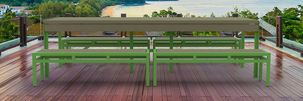rendering of picnic table outside