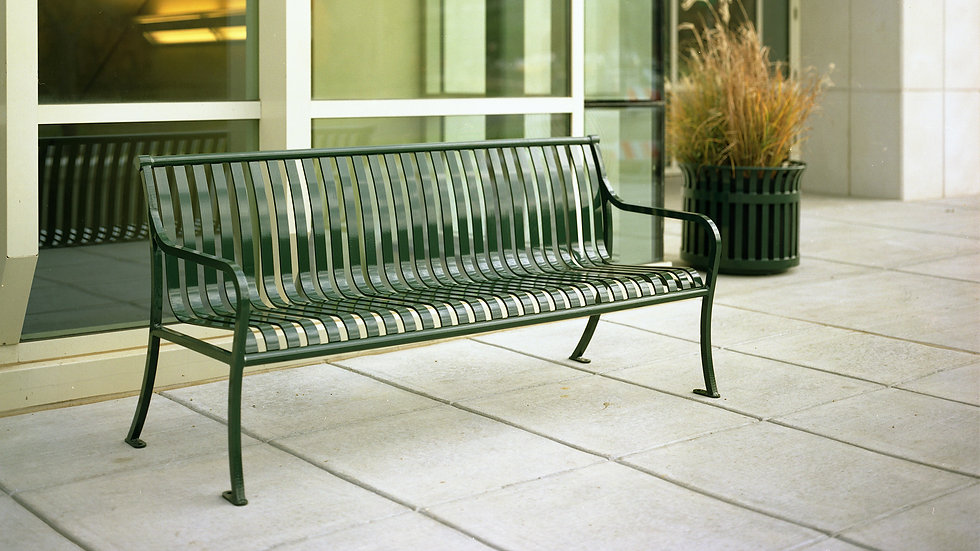 metal bench outdoor on concrete