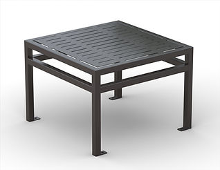 rendering of black, metal square side table white background