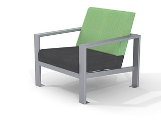 rendering of lounge chair white background