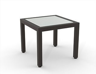 rendering of wicker side table white background