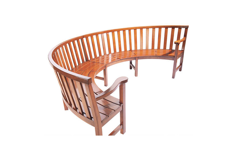 Premier Radial wood bench half circle