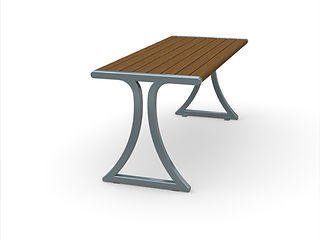 rendering of wood and metal dining table with shadows on a white background