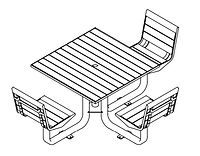 line drawing of picnic table set with chairs ada version
