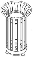 perspective line drawing of ash urn