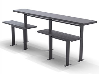 rendering of public rail table and seating white background