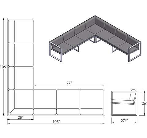 spec drawing of seating
