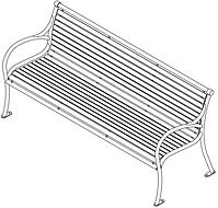 perspective line drawing of bench