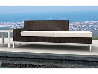 rendering of wicker lounge love seat outdoor patio
