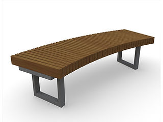rendering of wooden bench with shadows on a white background