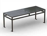 thumbnail of black metal rectangular dining table
