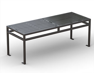 rendering of black metal dining table white background