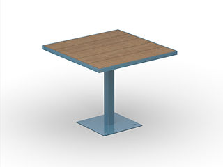 rendering of wood and metal cafe table