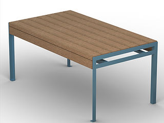 rendering of wood and metal dining table