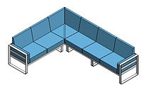 line drawing of sectional seating