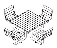 line drawing of picnic table set with chairs
