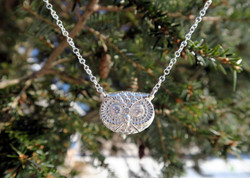 Fine Silver Owl with CZ Peepers
