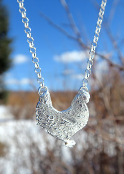 Fine Silver Hen Necklace
