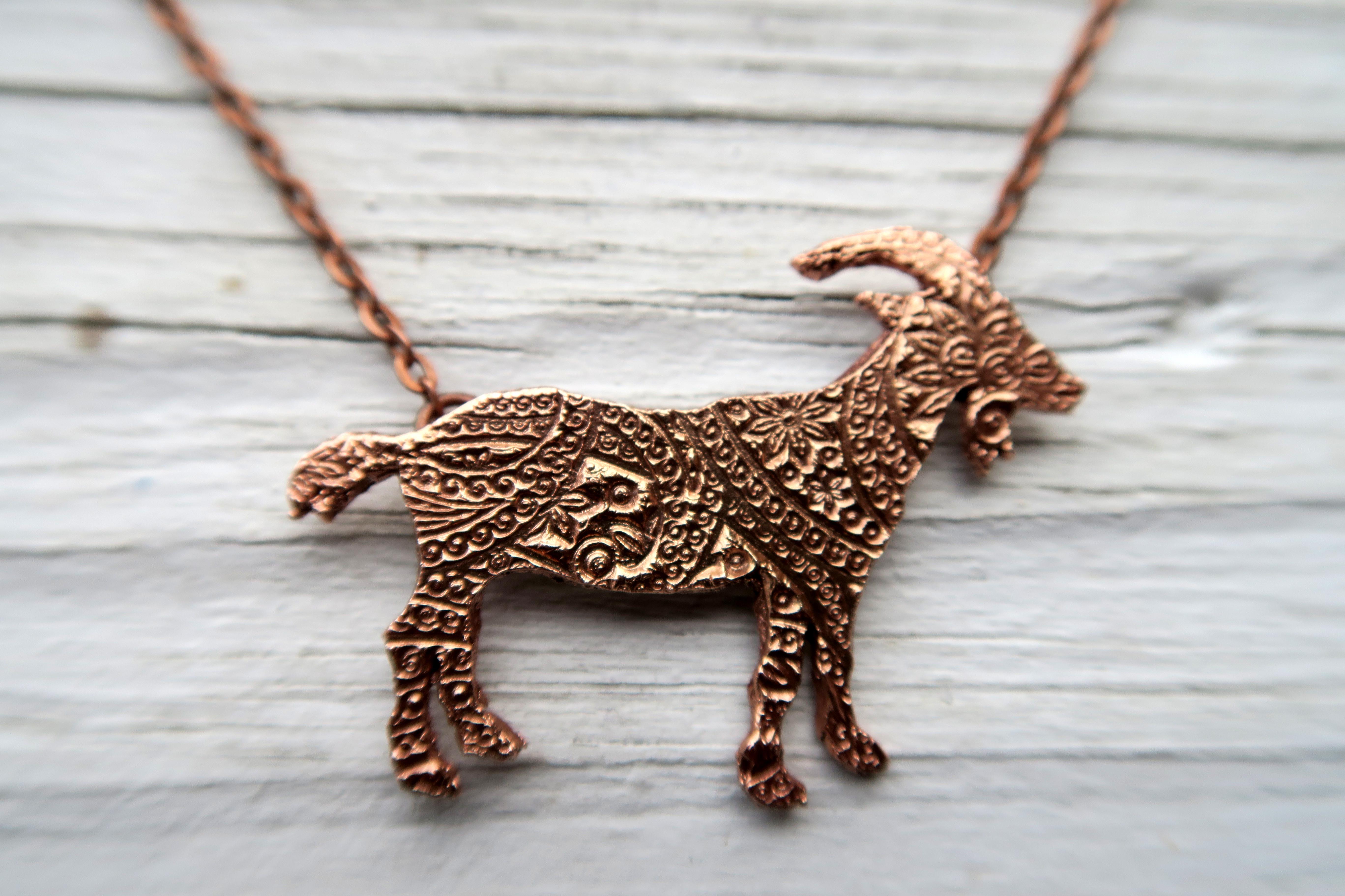 Copper Paisley Goat Pendant