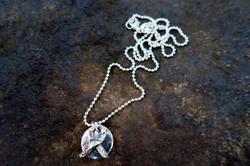 Awareness Ribbon & Disc Necklace