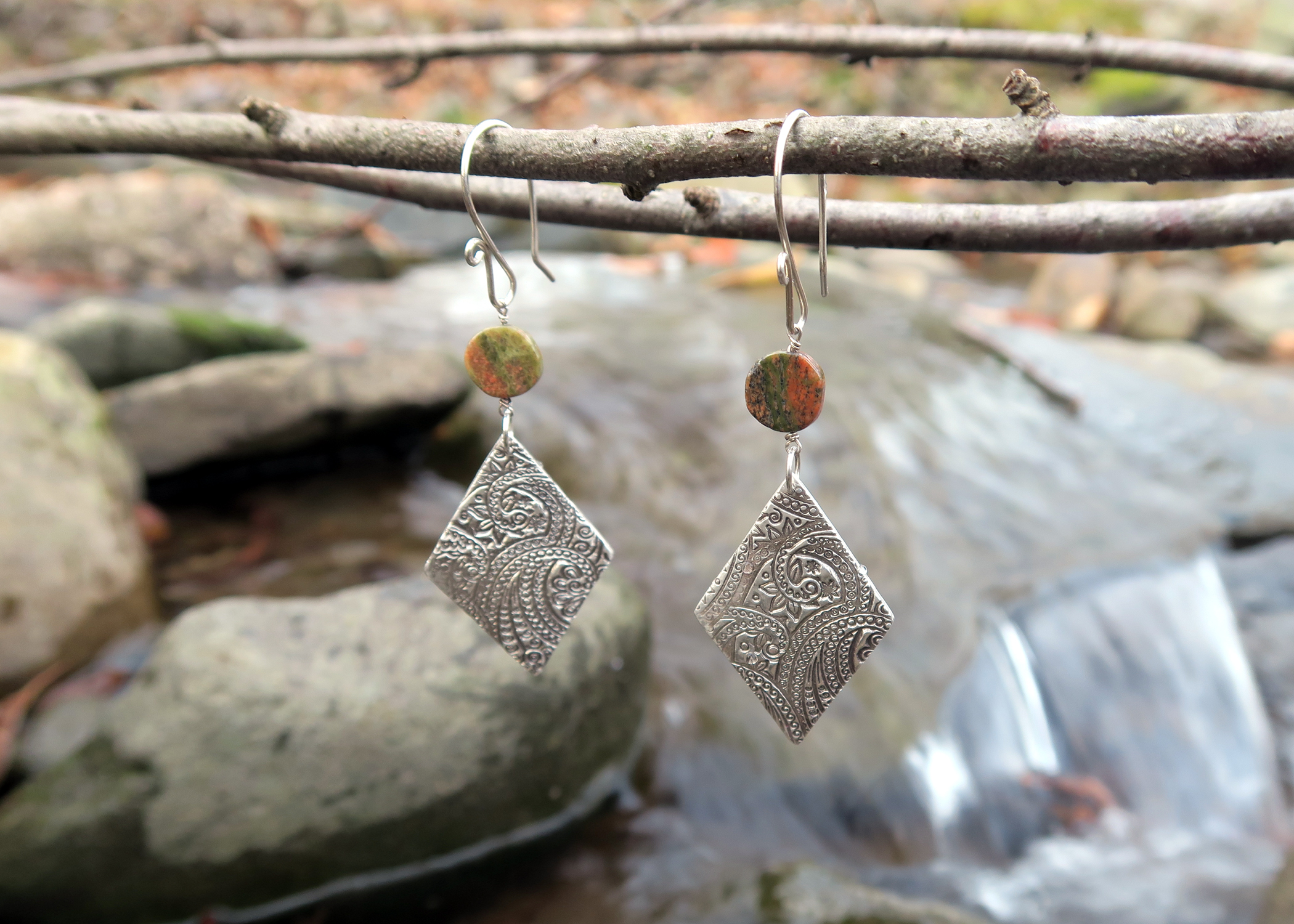 Unakite Fine Silver Kite Earrings