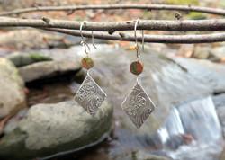 Unakite Fine Silver Kite Earrings