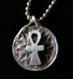 Ankh Petal Disc Necklace