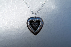 Fine Silver CZ Secret Heart Necklace