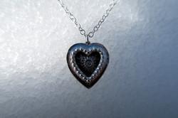 Fine Silver CZ Secret Heart Necklace