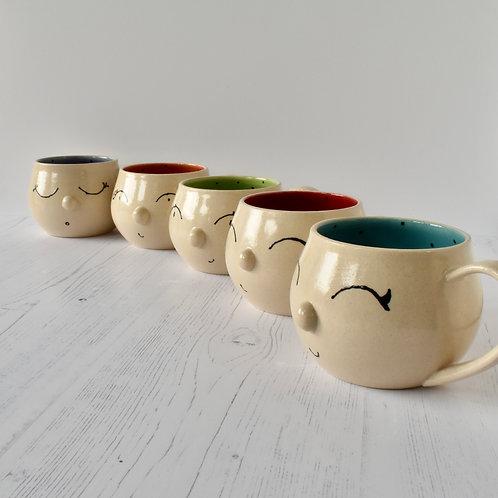 Stoneware Face Mugs