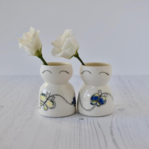 Porcelain mini Butterfly vases