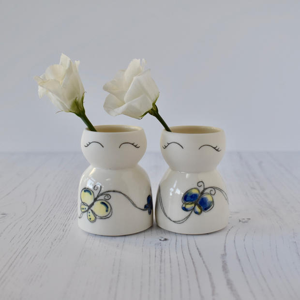 Porcelain mini Butterfly vases