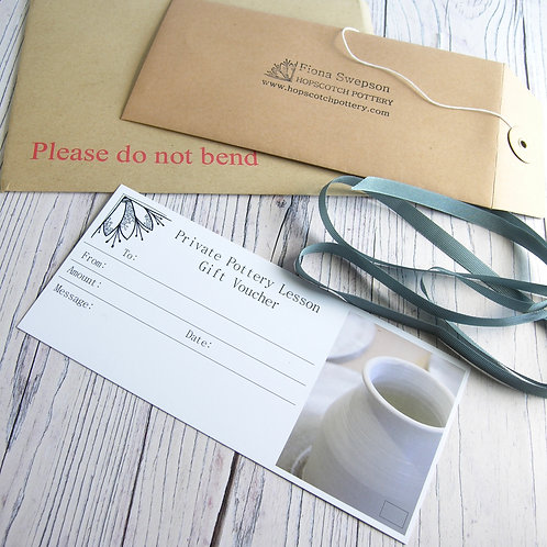 Two Hour Private Pottery Lesson Gift Voucher