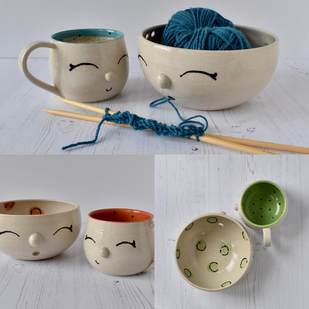 Yarn bowls with matching mugs