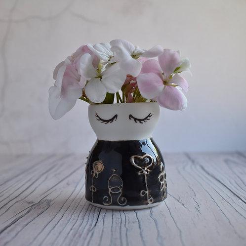 Dark Blue & Gold Flower Vase, extra small