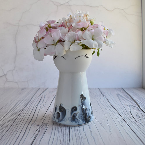 Blue & White Floral Vase, small
