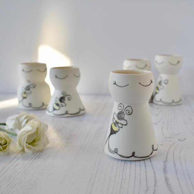 Porcelain mini Bumble Bee vases