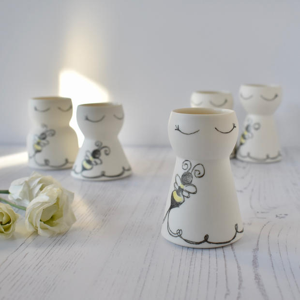 Porcelain mini Bumble Bee vases