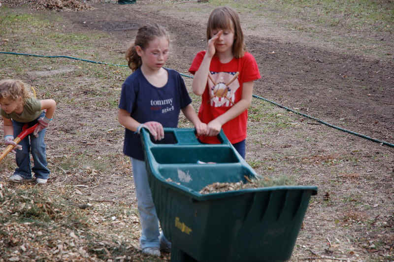 DSC_0134A photo of 2 girls pushing a wheelbarrow.