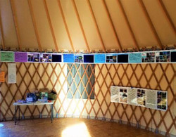A photo of the inside of the Yurt.
