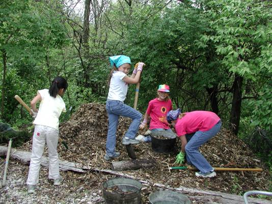 Four girls dig into a mulch pile.
