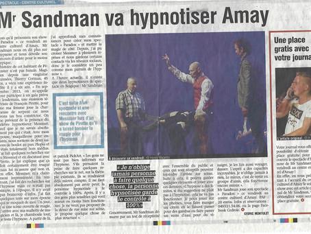 Mr sandman hypnotiseur de spectacle, article de mai 2019