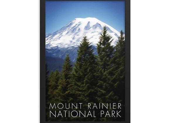 Framed 12x18 Mount Rainier National Park Poster 2