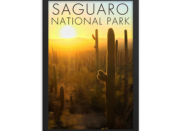 Framed 12x18 Saguaro National Park Poster 2