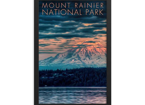 12x18 Framed Mount Rainier Poster