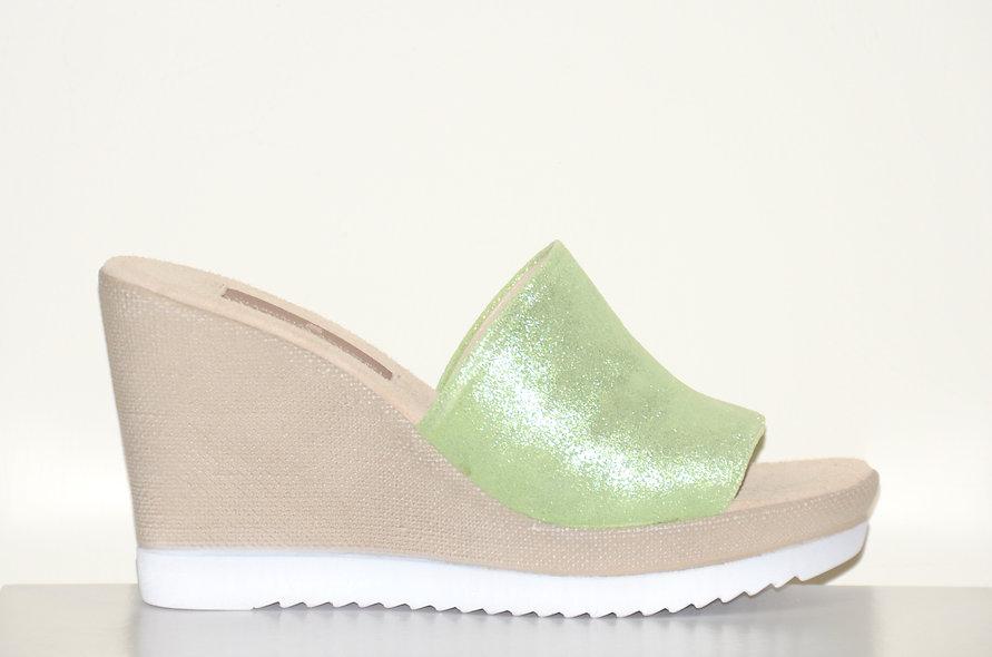 Chiara Wedge Lime Green Leather