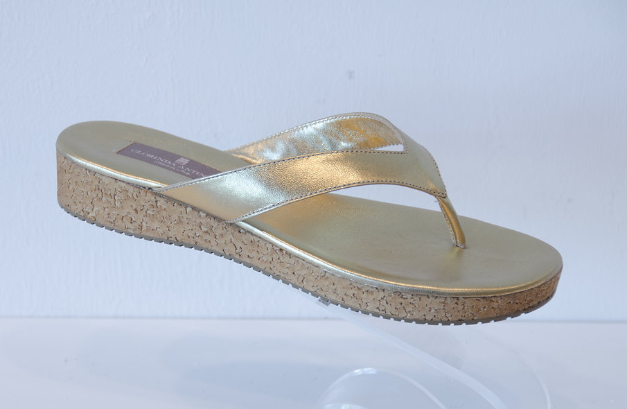 Leather Flip Flop- Gold