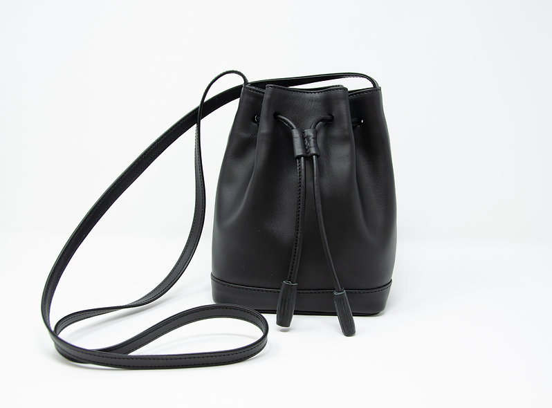 Small Bucket Bag- Black Calfskin