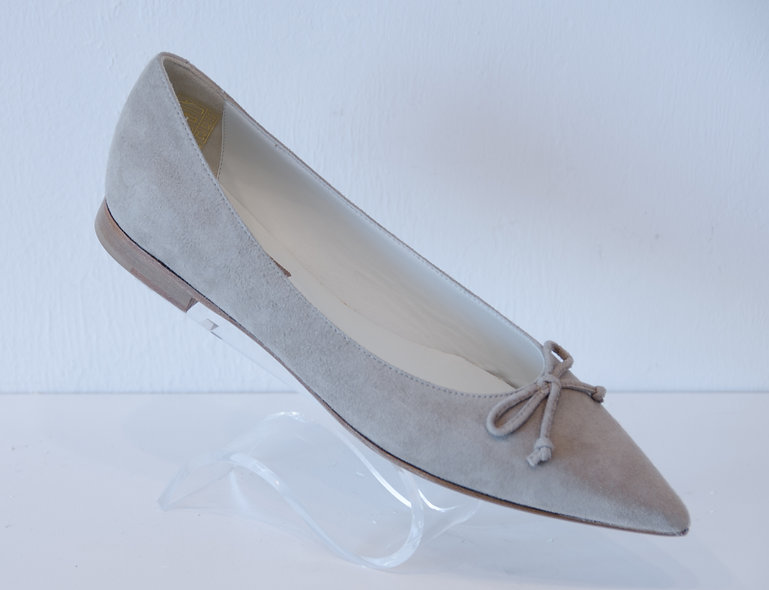 Pointed Toe Flat- Grey Suede