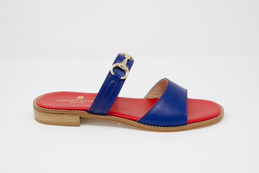 The Sara- Navy/ Red Leather